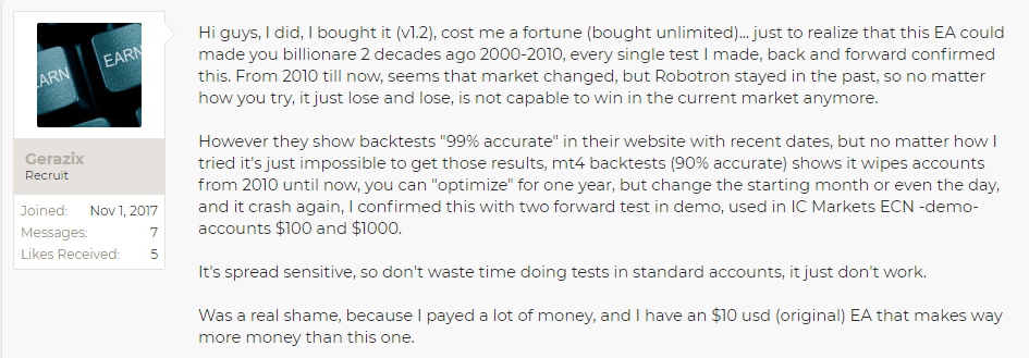 reviews from customers on forex robotron
