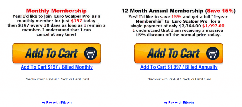 Euro Scalper Pro monthly membership