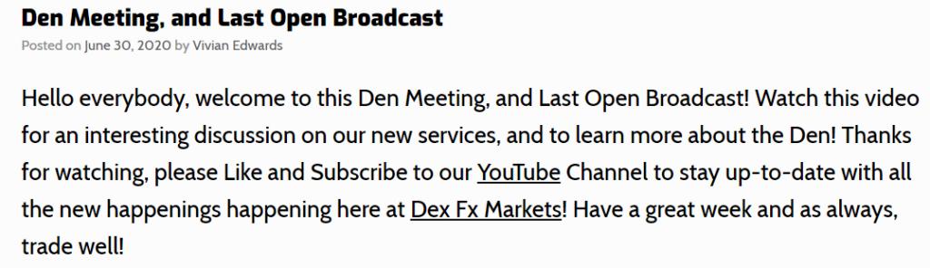 Dex News page