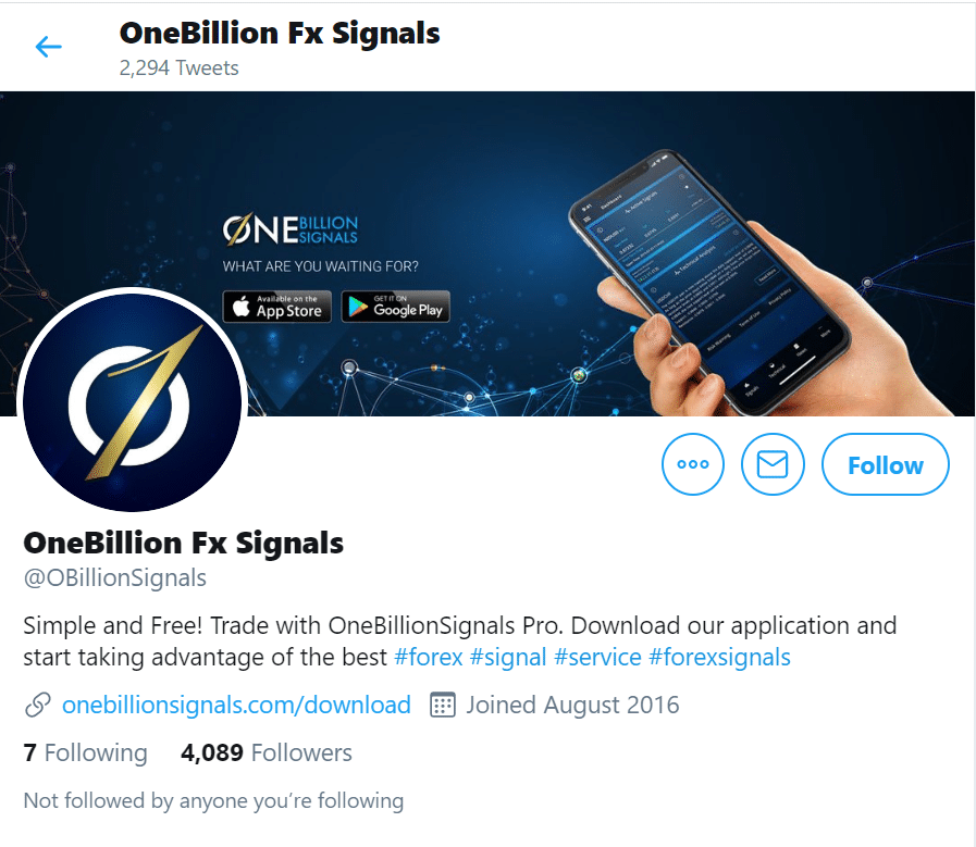 One Billion Signals Twitter page