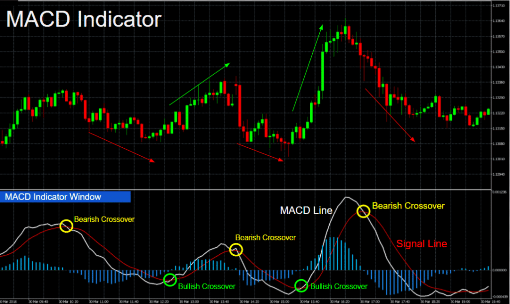 The chart showing the usage of MACD.