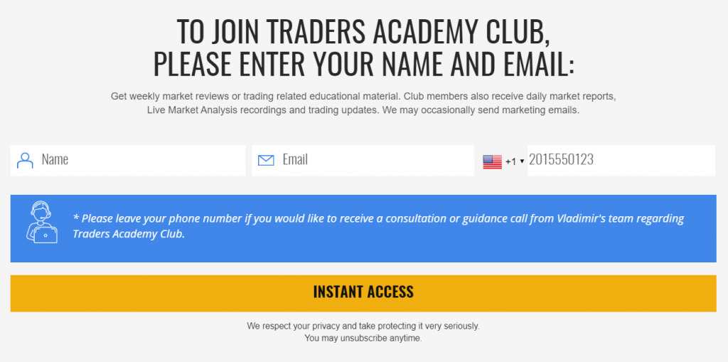 Traders Academy Club registration