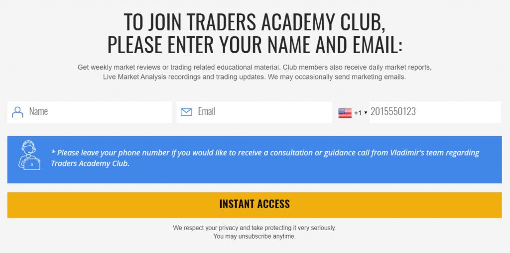 Traders Academy Club registration