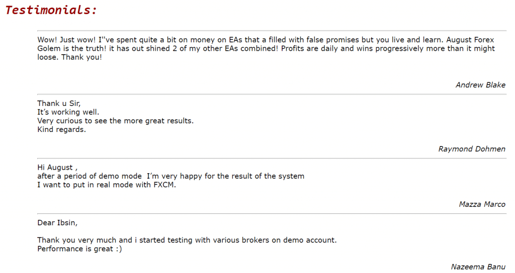 August Forex Golem People's feedback