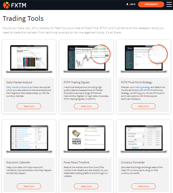 FXTM Platform and analytical research tools