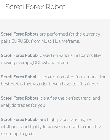 Screti Forex Robot features