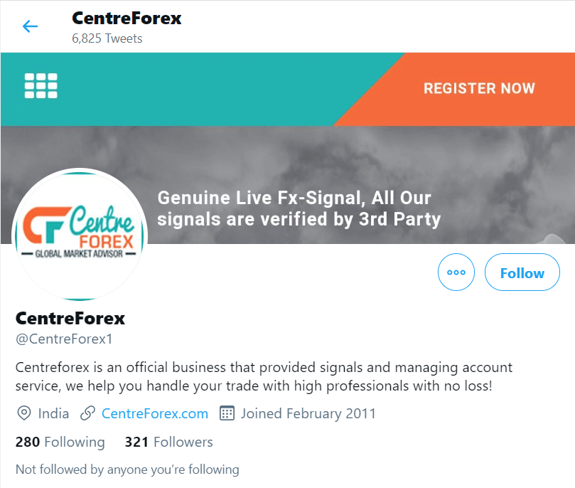 Centre Forex Twitter profile