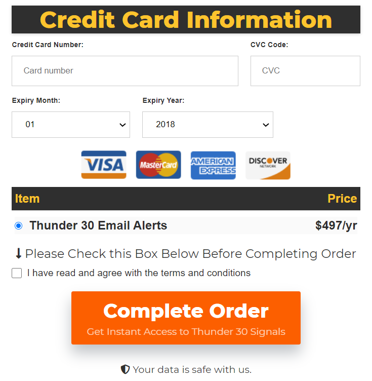 Thunder 30 Signals payment