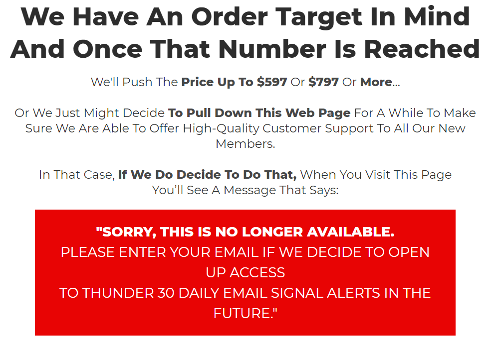 Thunder 30 Signals Pricing & Refund