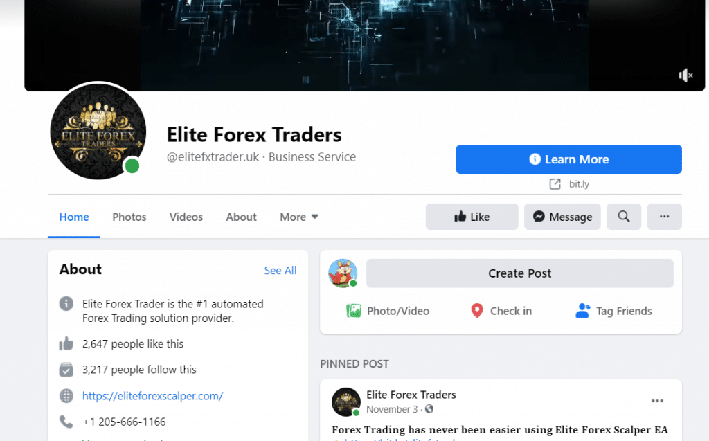 Elite Forex Scalper - Facebook page
