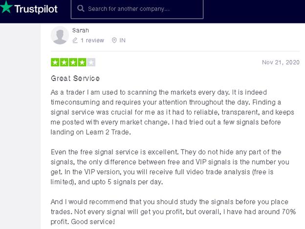 Learn 2 Trade customer feedback