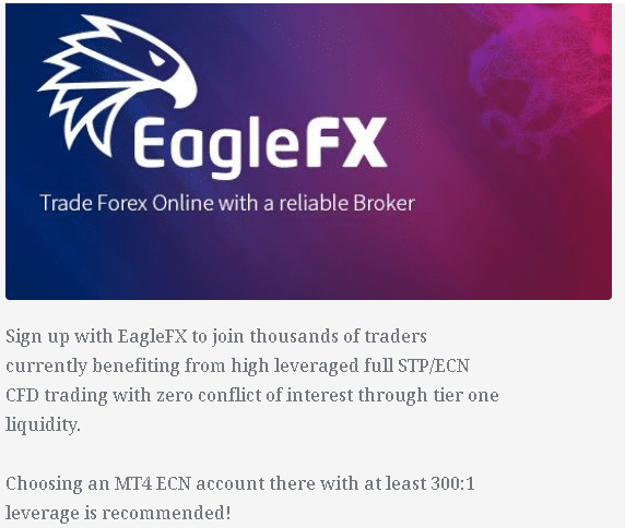 Ranger EA. The dev recommends to trade with EagleFX broker, recommended leverage for MT4 ENC account is 1:300