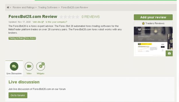 ForexBot28 EA Customer Reviews