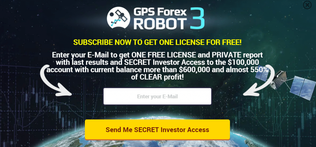 GPS Forex Robot. The presentation immediately suggests we exchange our email for updates, a demo version of the EA, and an investor password.