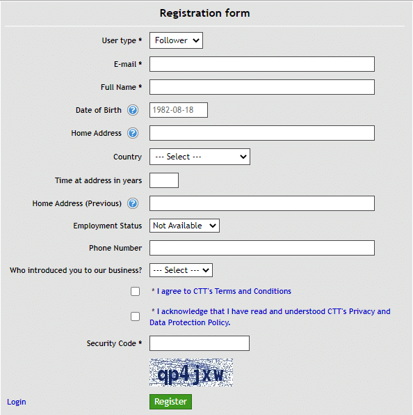 Dynamic EA - registration form