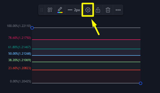 To activate these values, you have to select the tool and click on the configuration icon.