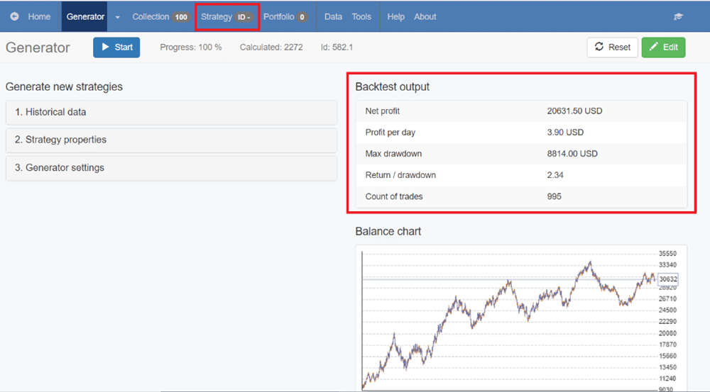 When the whole strategy is configured, results will appear summarized in the backtest output section