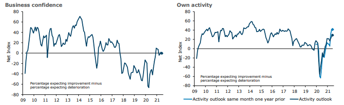NZ Business confidence and own activity graphs