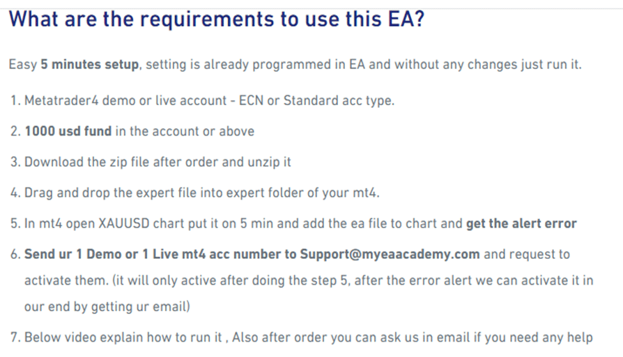 Promax Gold EA. What are the requirements to use this EA?