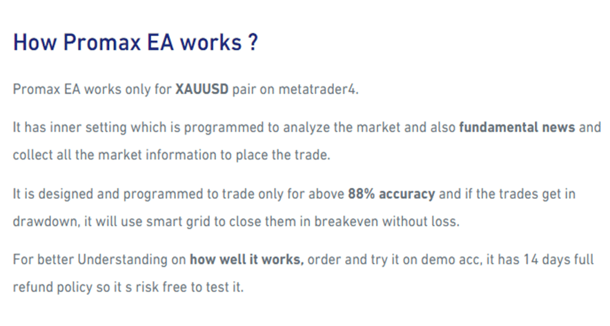 How Promax Gold EA Works
