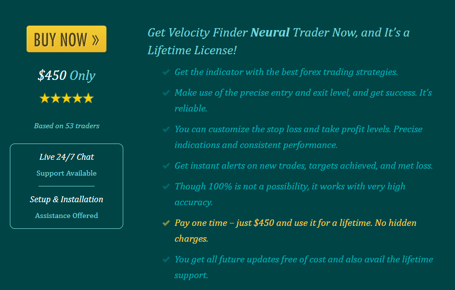 Velocity Finder Neural Trader Pricing