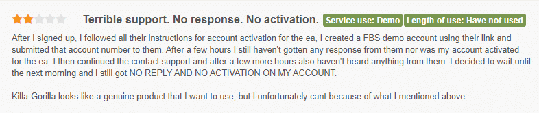 User review claiming the support is terrible.