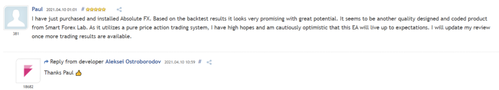 User review for Absolute on MQL5.