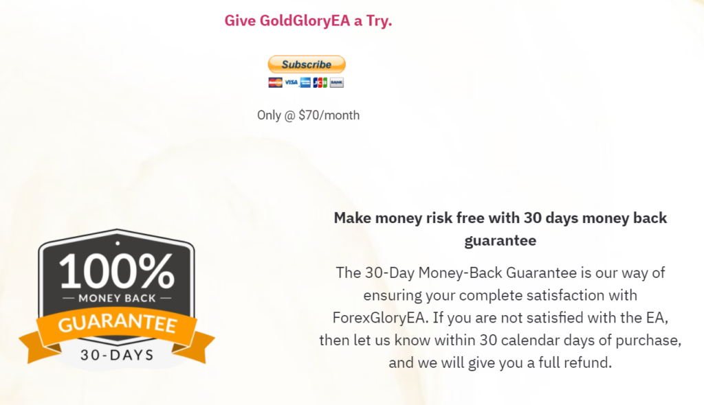 Forex Glory EA pricing