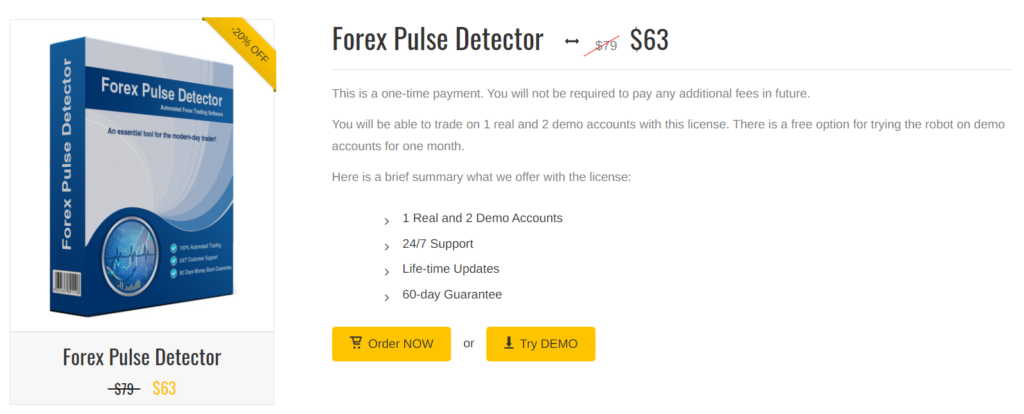 Forex Pulse Detector pricing.