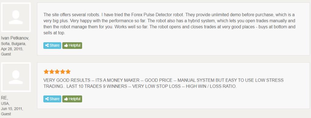 Forex Pulse Detector testimonials.