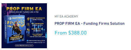 PROP FIRM EA's pricing plan.