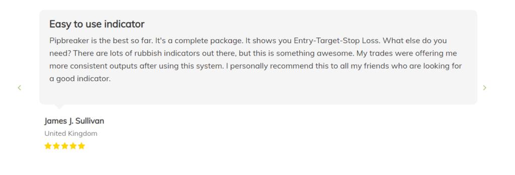 User testimonial for Pipbreaker on the official website.