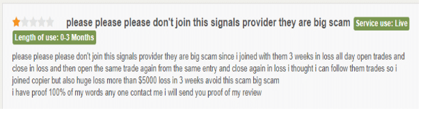 User complaining of the big losses by Price Action Forex Ltd.