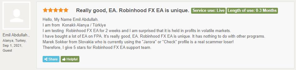 Robinhood FX EA testimonials.