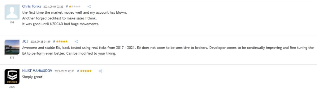 User reviews for Waka Waka EA on MQL5.
